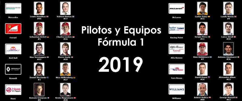 Pilotos y Equipos F1 2019 - F1Latam.com